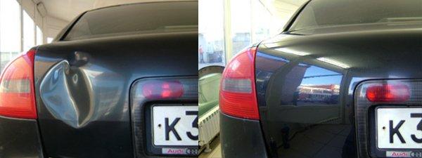 Удаление вмятины на крышке багажника без покраски